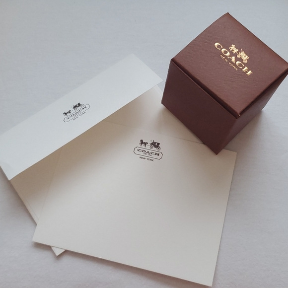 Coach cube box and note card with envelope
